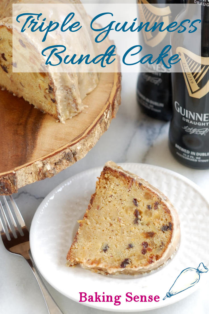 "Triple Guinness Bundt Cake is a rich cake made with golden raisins, currants, almonds, and, best of all, Guinness Stout added 3 ways. You know what they say, ""Guinness is good for you""! #guinness #bundt #glazed #stpatricks #irish"