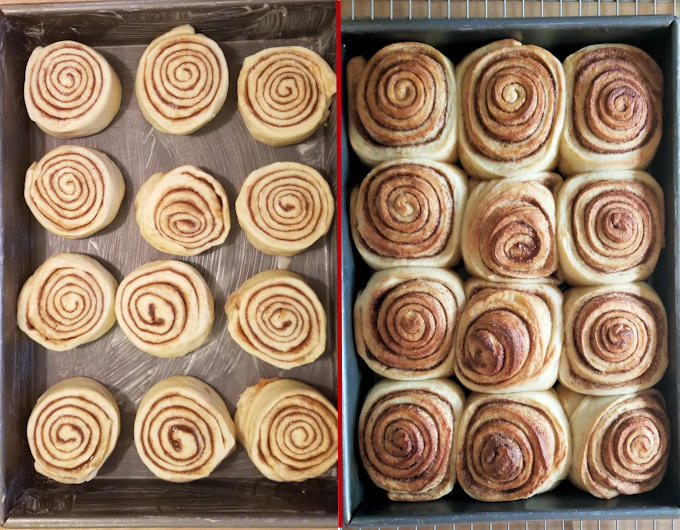 cinnamon buns before and after baking
