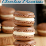 a stack of baileys chocolate macarons with text overlay for pinterest