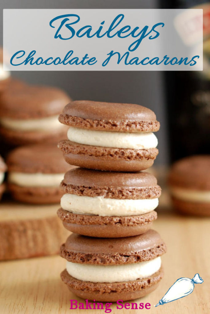 Baileys Chocolate Macarons combine the classic French almond cookie with Baileys Irish Cream filling. This is an international match made in heaven! #recipe #french #macaron #baileys #chocolate #howto #irish #cream #st. patricks day