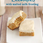 a pinterest image of two malted milk blondies with text overlay