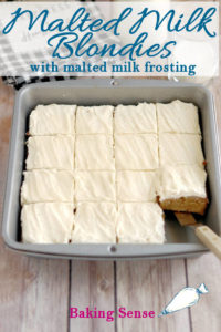 a pinterest image of malted milk blondies with text overlay
