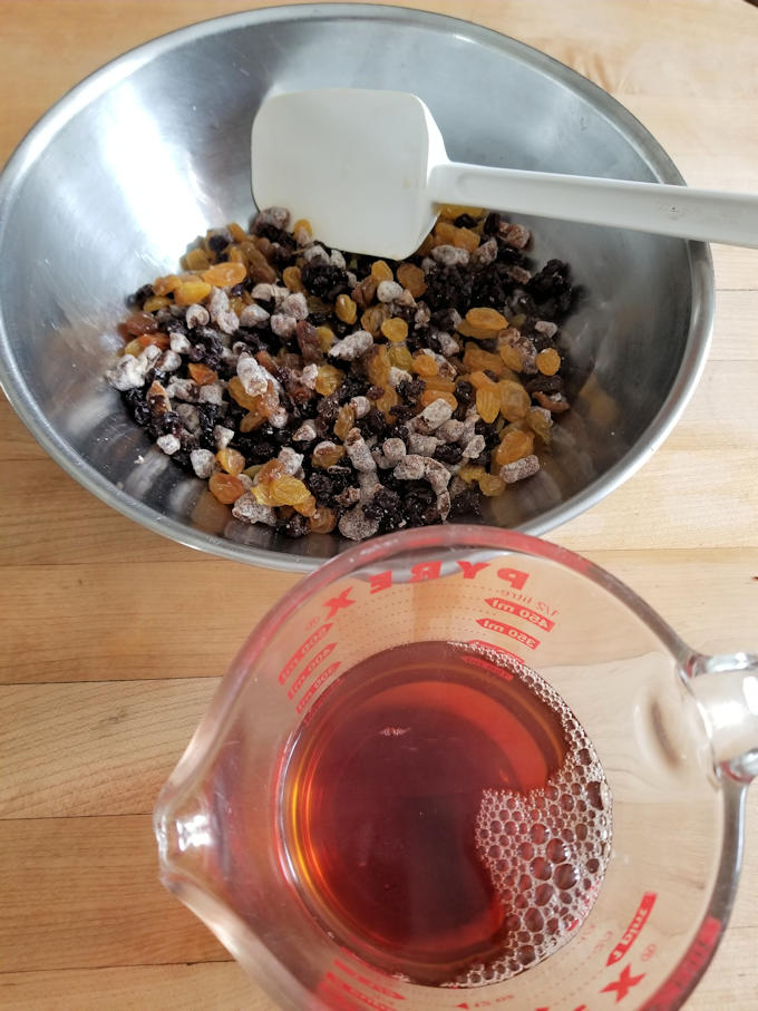soak dried fruits in black tea for Irish tea brack