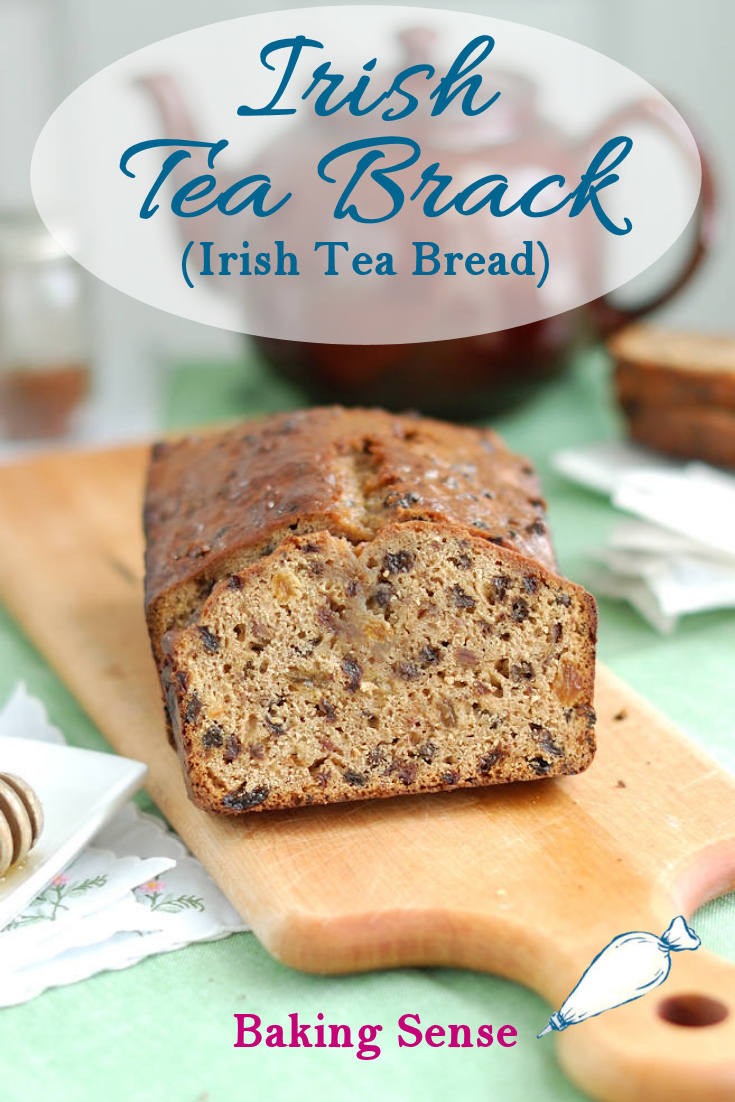 Irish Tea Brack is a not-too-sweet quick bread that is moist with dried fruits that have been soaked in strong black tea. The honey glaze is brushed on when the loaf is hot from the oven. #recipe #irish #easy #quickbread #traditional #noyeast #