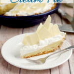 a malted milk cream pie image for pinterest with text overlay