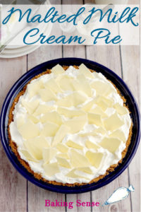 a malted milk cream pie pinterest image with text overlay