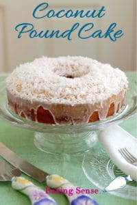 a coconut pound cake pinterest image with text overlay