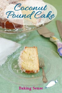 a pinterest image for coconut pound cake with text overlay
