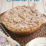 a pinterest image of a rhubarb crumb pie with text overlay