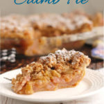 a pinterest image of a slice of rhubarb crumb pie with text overlay