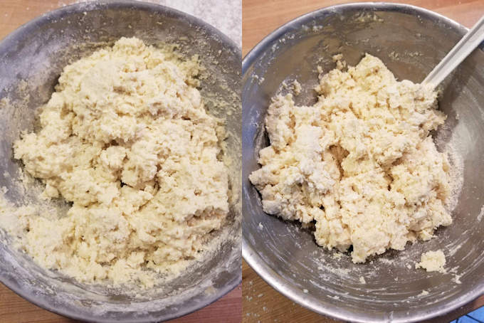 two bowls of shortcake biscuit dough