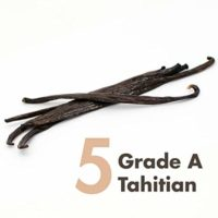 """Vanilla Beans (Tahitian) – 5 x Prime Gourmet Grade A 5~6"""" for Baking, Extract, Coffee, Brewing, Cooking"""