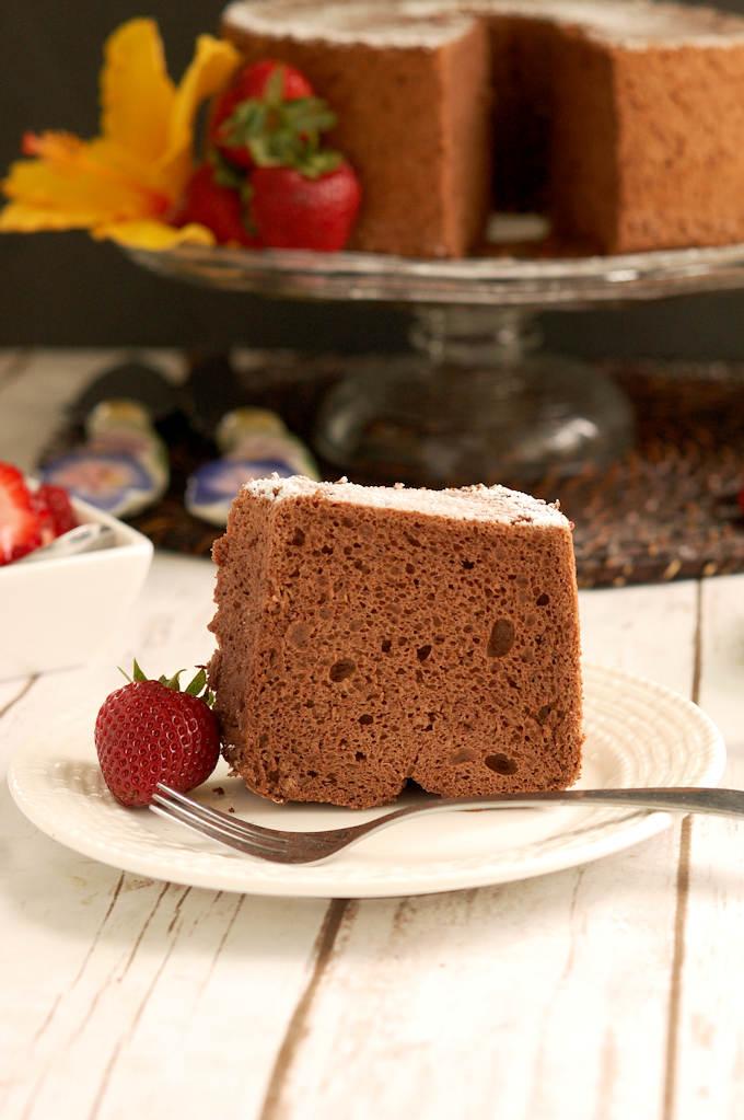 a slice of chocolate angel food cake on a plate