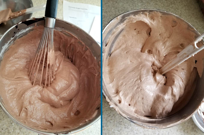 two bowls of chocolate angel food cake batter