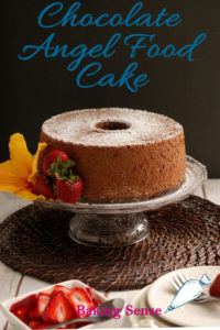a pinterest image of chocolate angel food cake with text overlay