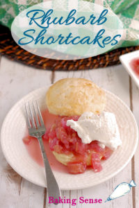 a rhubarb shortcake image for pinterest with text overlay