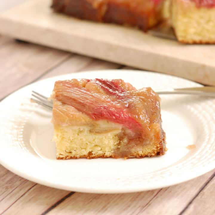 Rhubarb Upside Down Cake with Ginger