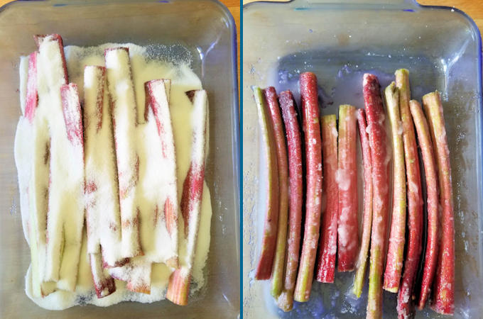 macerating rhubarb before and after