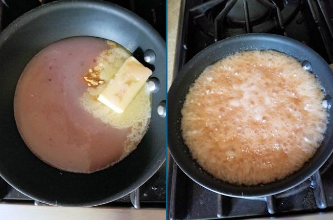 rhubarb caramel boiling