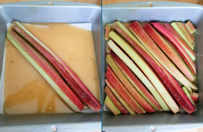 rhubarb and caramel in a square pan