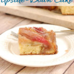 a pinterest image for rhubarb upside down cake