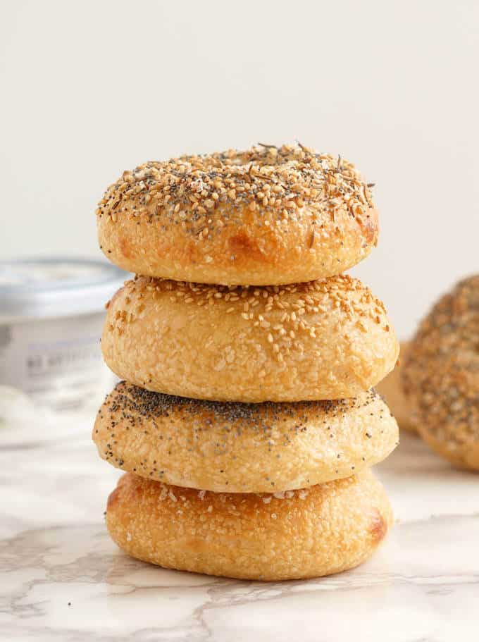 a stack of sourdough bagels