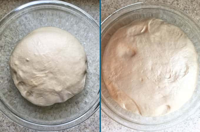 two bowls of rising bread dough