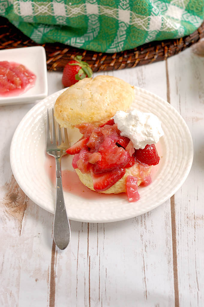 a strawberry rhubarb shortcake on a plate