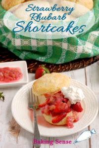 a strawberry rhubarb shortcake image for pinterest with text overlay