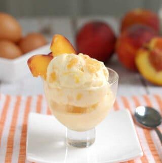 a dish of roasted peach ice cream