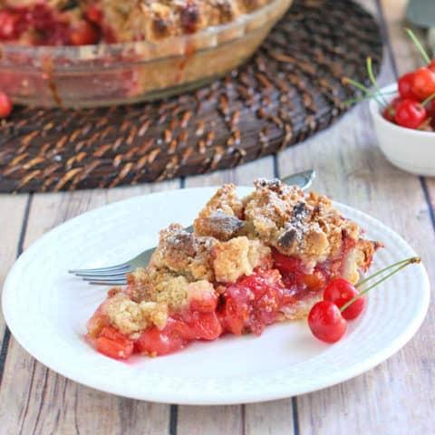 Sour Cherry Almond Crumb Pie