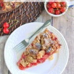a pinterest image for sour cherry crumb pie