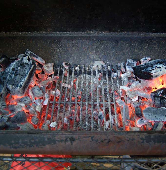 a split charcoal fire for making grilled pizza