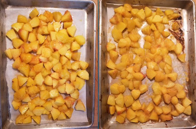 two tray of peaches - one before and one after roasting.