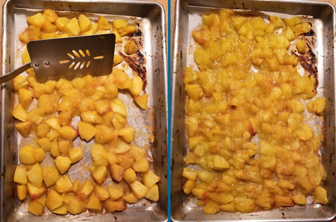 two trays of roasted peaches, one before chopping and one after