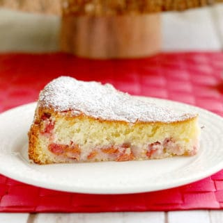 a slice of sour cherry cake