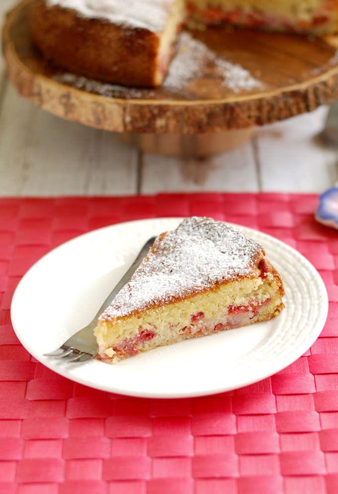 a slice of sour cherry cake