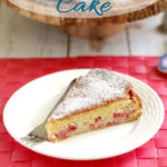 a pinterest image for sour cherry cake