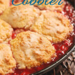 a pinterest image for sour cherry cobbler