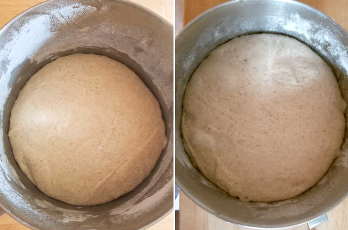 two bowls of sourdough rye bread dough, before and after rising.