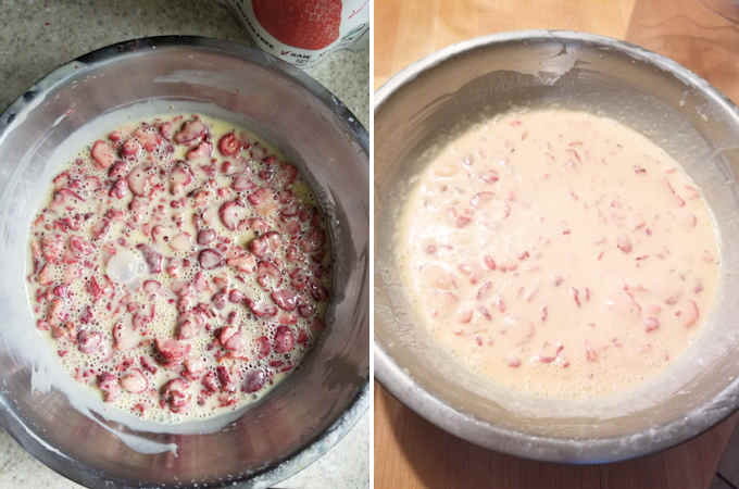 before and after soaking freeze dried strawberries in a custard base.