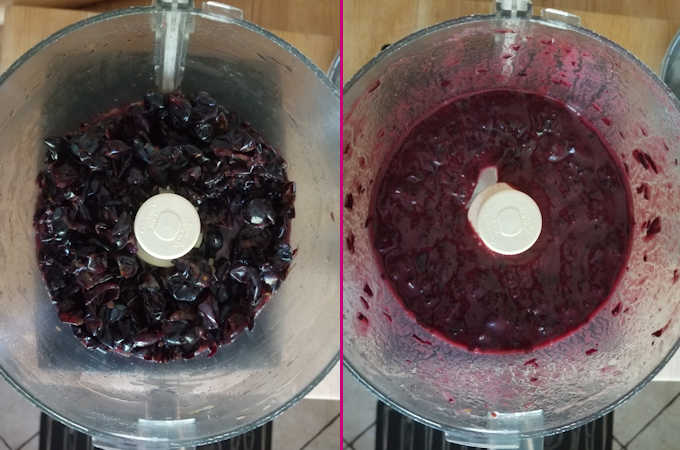 two side by side photos of concord grape skins before and after pureeing.