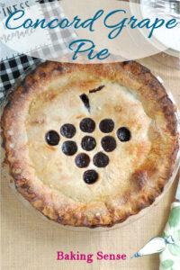 a pinterest image for a concord grape pie recipe