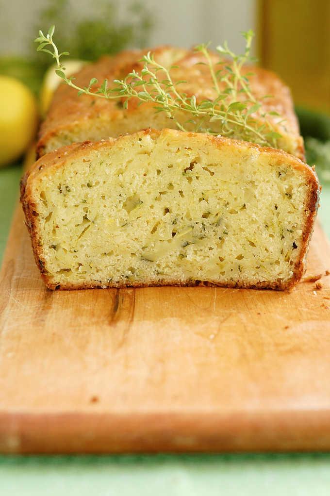 a closeup shot of a slice of zucchini bread