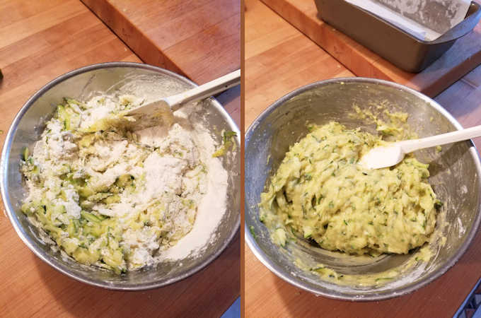 two bowls of zucchini bread batter, before and after mixing