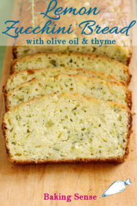 a pinterest image for lemon zucchini bread with olive oil and thyme
