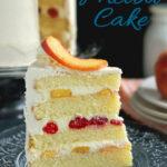 a pinterest image for peach melba cake