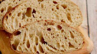 slices of sourdough rye bread on a cutting board