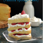 a pinterest image for vanilla genoise sponge cake