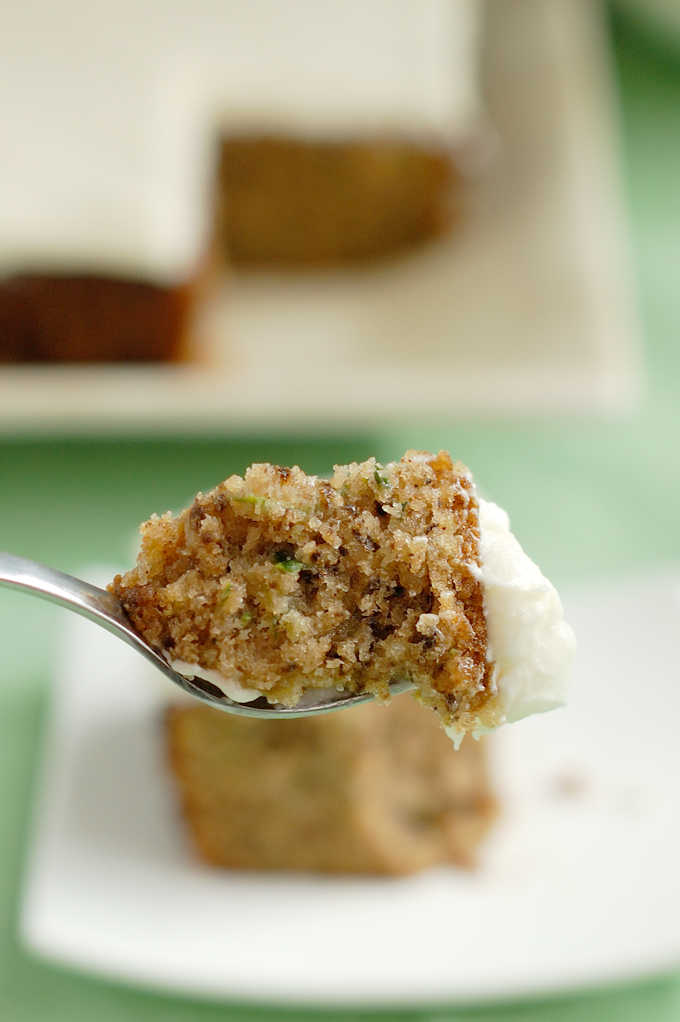 a bite of zucchini cake on a fork